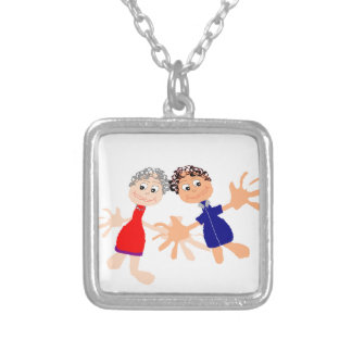 Graphic Art - Two Friends Silver Plated Necklace