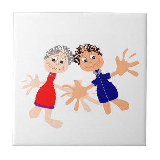 Graphic Art - Two Friends Tile