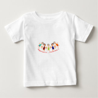 """Graphic Art with """"Happiness is... Friends""""text Baby T-Shirt"""