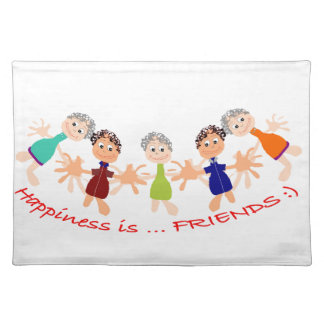 """Graphic Art with """"Happiness is... Friends""""text Placemat"""