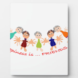 "Graphic Art with ""Happiness is... Friends""text Plaque"