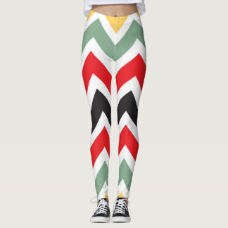 Graphic Autumn Colors Chevron Pattern Leggings