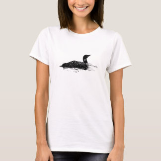 Graphic Black Pen and Ink Common Loon Bird Water T-Shirt