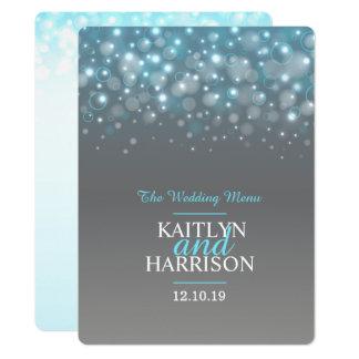 Graphic bubble grey blue wedding dinner menu 17 cm x 22 cm invitation card