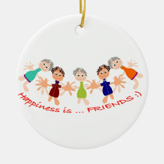 Graphic Characters with Text Happiness_is_Friends Ceramic Ornament