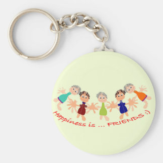 Graphic Characters with Text Happiness_is_Friends Key Ring