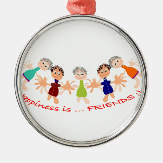 Graphic Characters with Text Happiness_is_Friends Metal Ornament