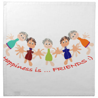 Graphic Characters with Text Happiness_is_Friends Napkin