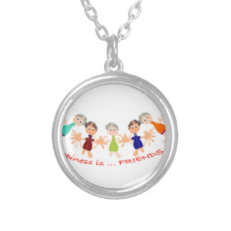 Graphic Characters with Text Happiness_is_Friends Silver Plated Necklace