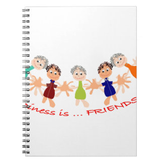 Graphic Characters with Text Happiness_is_Friends Spiral Notebook