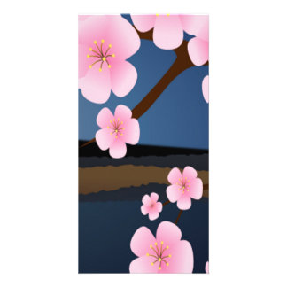 Graphic Cherry Blossom Photo Card