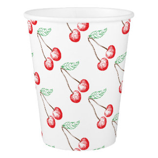 Graphic Cherry Paper Cup