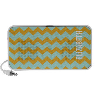 Graphic chevron pattern yellow teal your name notebook speaker