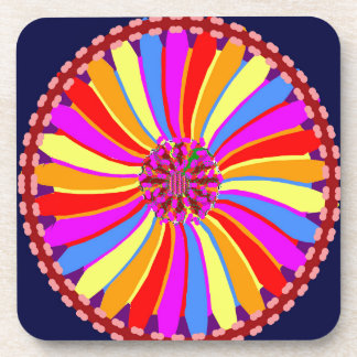 Graphic Colorful Flower Beverage Coaster