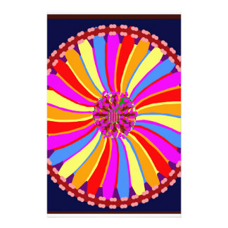 Graphic Colorful Flower Stationery Paper