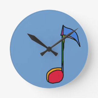 graphic colorful music note round clock