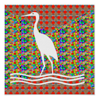 Graphic decorations  SHAPES birds Heron Egret Poster