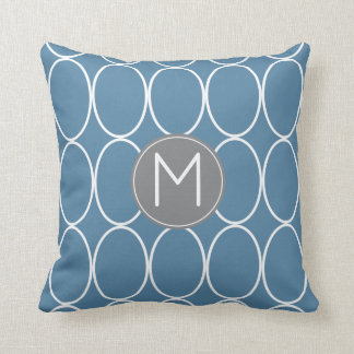 Graphic Design Monogram Blue and Gray Cushion
