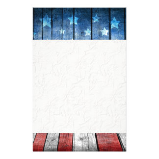 graphic design, us flag colors and decor on wood custom stationery