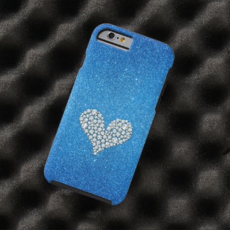 Graphic Diamond Heart Glitter Background Tough iPhone 6 Case