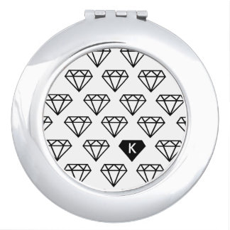 Graphic Diamond Initial Monogram Compact Mirror