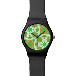 Graphic Floral Pattern Wrist Watch