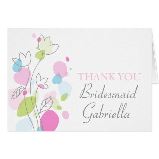 Graphic floral wedding bridesmaid thank you card