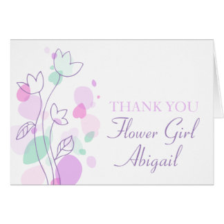 Graphic floral wedding flower girl thank you card