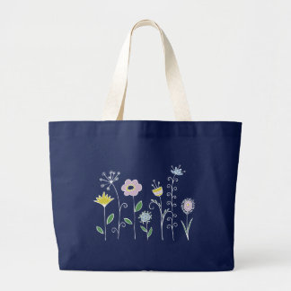 Graphic flower design jumbo tote bag