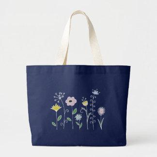 Graphic flower design large tote bag