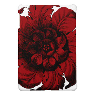 Graphic Flower in Black and Red iPad Mini Case