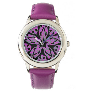 Graphic Flower Stainless Steel Watch