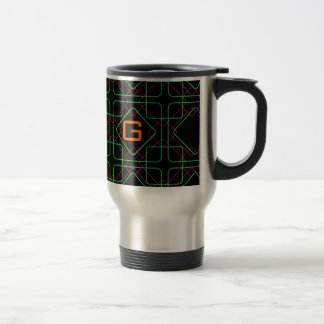 Graphic Geometric Shapes In Green & Pink Stainless Steel Travel Mug
