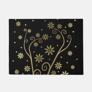 Graphic Gold Blooming Flowers Doormat