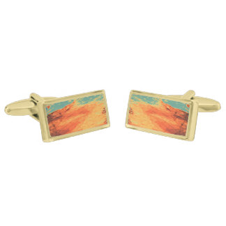 Graphic Holiday Gold Finish Cuff Links