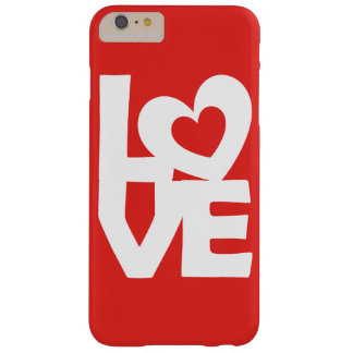 Graphic Illustration I love You with heart on red Barely There iPhone 6 Plus Case