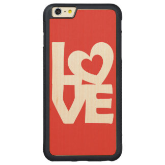 Graphic Illustration I love You with heart on red Carved® Maple iPhone 6 Plus Bumper Case