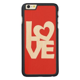 Graphic Illustration I love You with heart on red Carved® Maple iPhone 6 Plus Case
