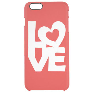 Graphic Illustration I love You with heart on red Clear iPhone 6 Plus Case