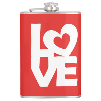 Graphic Illustration I love You with heart on red Hip Flask