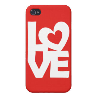 Graphic Illustration I love You with heart on red iPhone 4/4S Cases