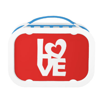 Graphic Illustration I love You with heart on red Lunchboxes