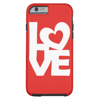 Graphic Illustration I love You with heart on red Tough iPhone 6 Case