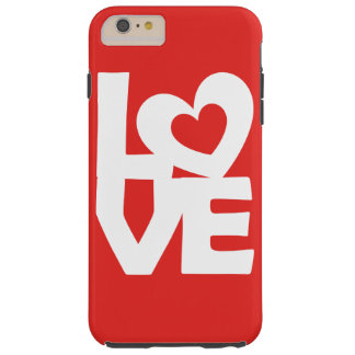 Graphic Illustration I love You with heart on red Tough iPhone 6 Plus Case