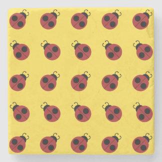 Graphic Ladybug Retro Yellow Stone Beverage Coaster