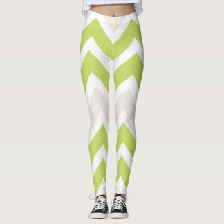 Graphic Lime Green Chevron Pattern Leggings