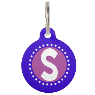 Graphic Lowercase Letter S Custom Initial Pet ID Tag