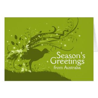 Graphic lyrebird green Australian Christmas card