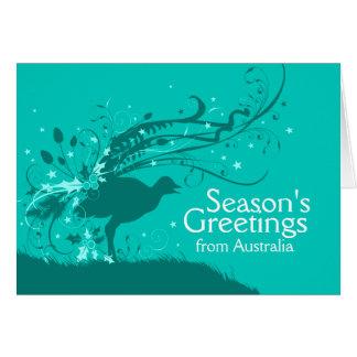 Graphic lyrebird teal Australian Christmas card