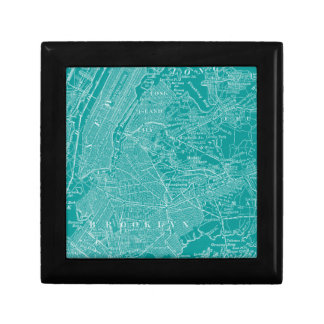 Graphic Map of New York Small Square Gift Box